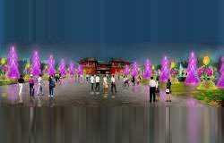环境装饰设计:紫气东来(塔柏)